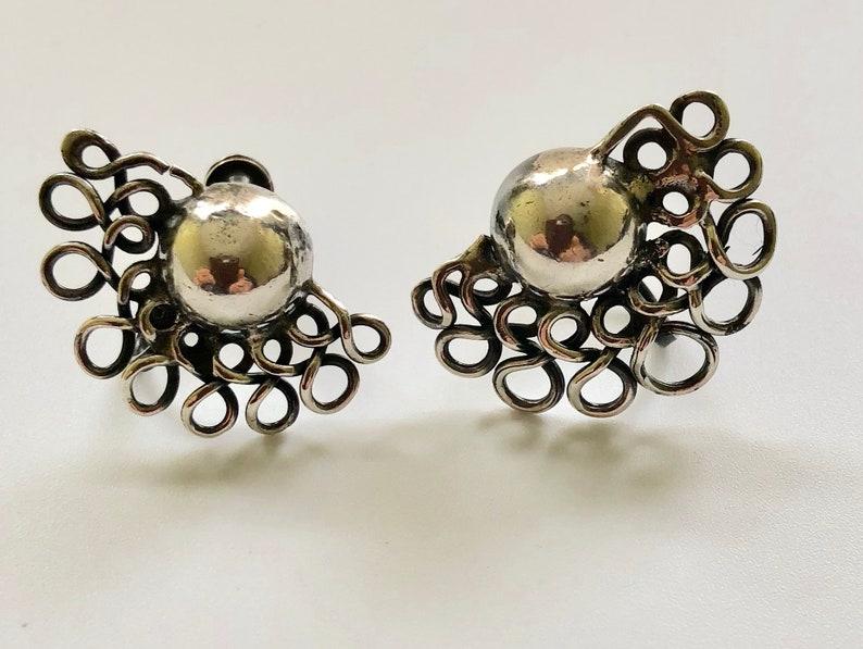 William Spratling Taxco Sterling Silver \u201cLace Moons\u201d Earrings c 1940