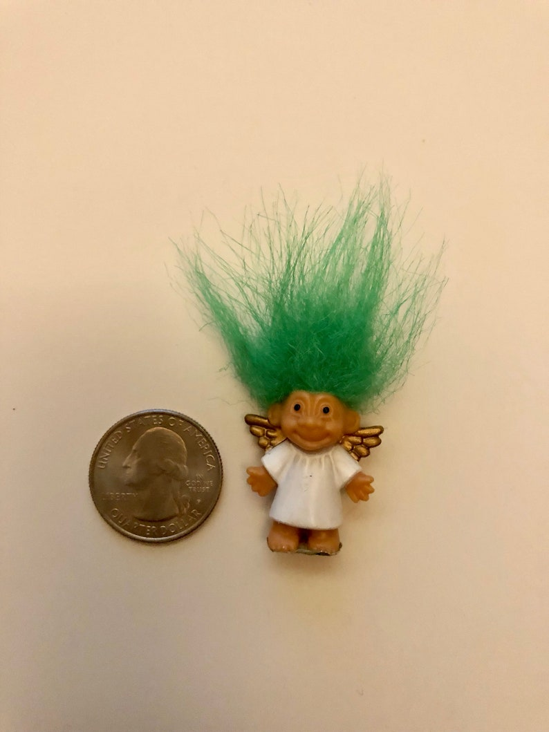 Green Vintage Russ Mini Miniature Troll Doll Merry Little Angel Lot Of 2 Red