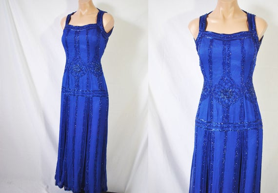 Vintage 80s Blue Formal Beaded Dress 20s Style Eve