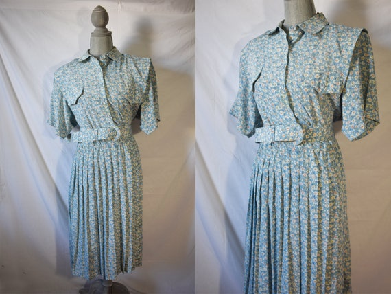Vintage 80s Does 40s Floral Shirtwaist Day Dress G