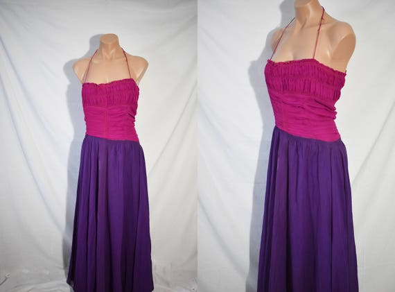 Vintage 40s Pink and Purple Formal Dress Long Prom