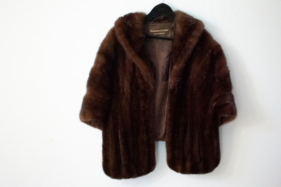 Vintage 60s Authentic Mink Fur Stole Dark Brown Fu