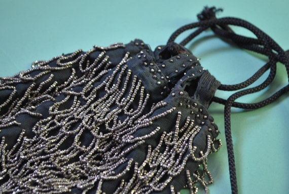 Vintage 20s Silver Beaded Drawstring Purse Formal… - image 3