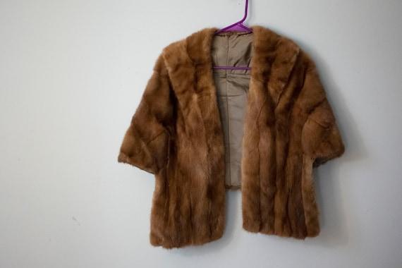60s Authentic Mink Fur Stole Light Brown Fur Stole