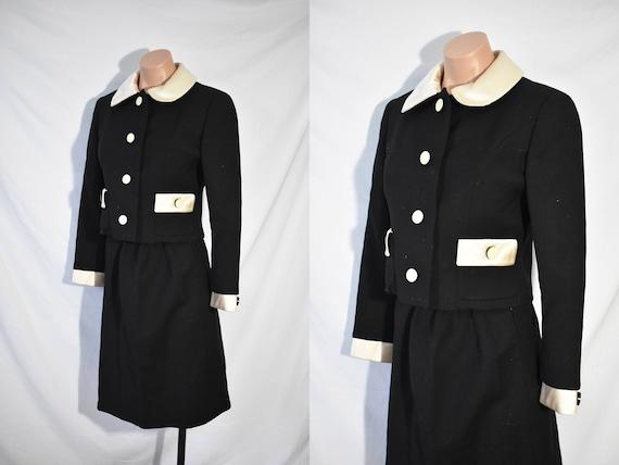 Vintage 80s Secretary Black Jacket And Skirt Suit
