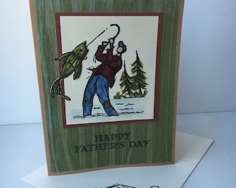 Fathers Day Card, Fishing Fathers Day card, Hand stamped and colored,