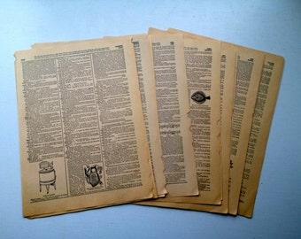 Vintage Dictionary Pages. English Dictionary, Set of 10, Vintage Book Pages. Old Book Pages. Scrapbook Ephemera. Paper Pack. Journal Paper.
