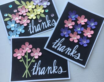 Thank you card set of 3, floral card set.