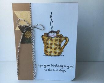 Carte d'anniversaire café fait main carte d'anniversaire, carte d'anniversaire souris