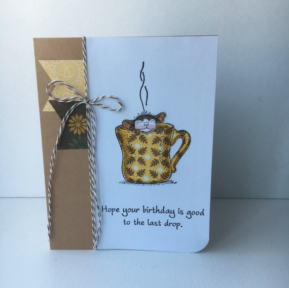 Coffee Birthday Card Hand Made Birthday Card Mouse Birthday Etsy
