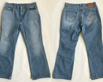 7bd06d41 Vintage 90s Levi's 515 Cotton Denim Light Rinse Blue Jeans / Low Rise & Boot  Cut / Women's Size 12 Petite Medium / Free US Shipping