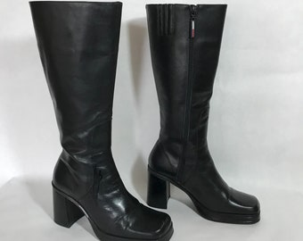 582f675bb Vintage 90s Tommy Hilfiger Tall Black Leather Platform Boots   Side Zip    Chunky Square Heel   Women s Size 9   Free US Shipping