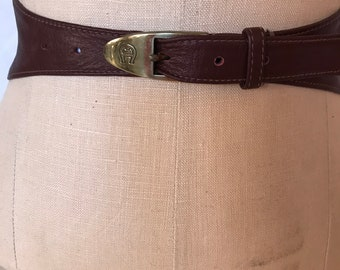 32cb491978cd2c Vintage 70er Jahre Etienne Aigner Oxblood weiches Leder Schärpengürtel  Metall Schnalle / verstellbare Taille / Damen Größe Small, Medium / 26-30  Zoll