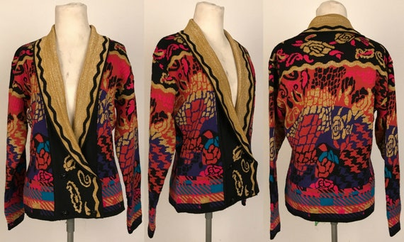 Vintage 80s-90s Georgiou Cardigan Sweater / Wild Funky Plaid & Roses  Pattern / Metallic Gold Lapels / Made in Hong Kong / Women's Size Small