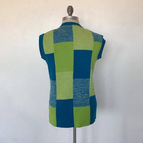 Vintage 70s Coltalia Blue & Green Wool Knit Open … - image 3