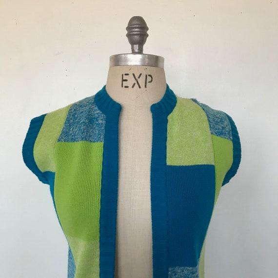 Vintage 70s Coltalia Blue & Green Wool Knit Open … - image 4