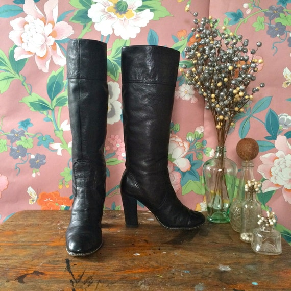 Leather Stacked Black Style David Charles 90s Charles Boots B by Heel Size Vintage 5 Disco David Charles tpqI85