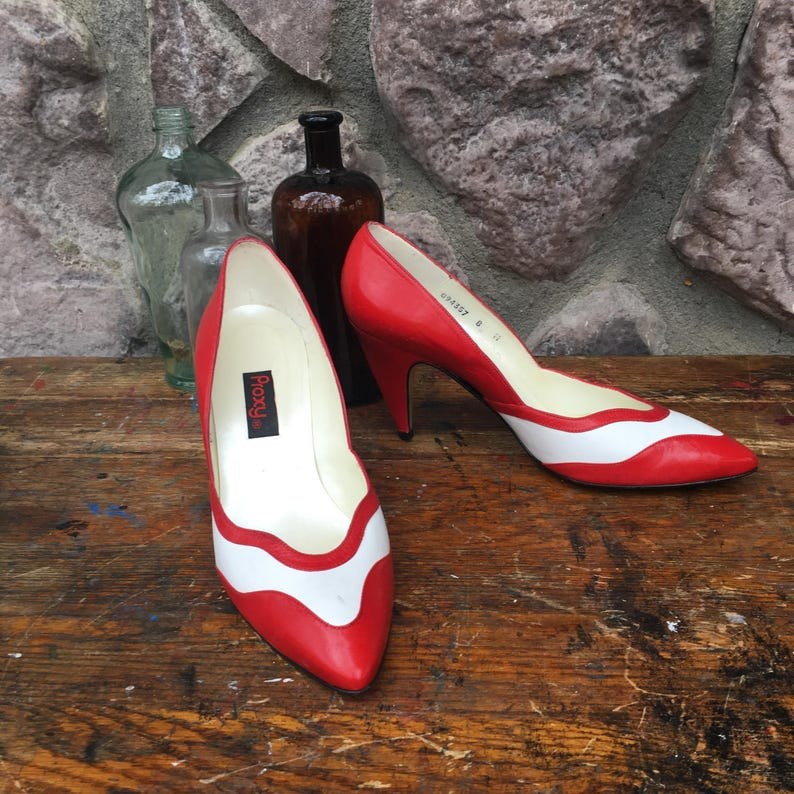 49a62dd327a Vintage 80s Does 50s Proxy Red & White High Heeled Shoes / | Etsy