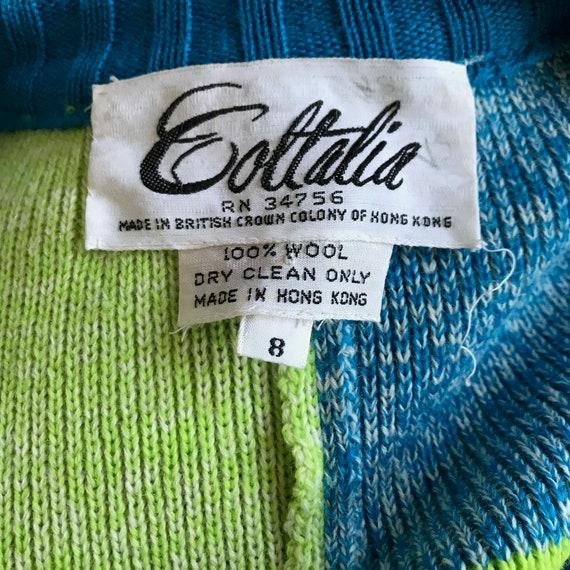 Vintage 70s Coltalia Blue & Green Wool Knit Open … - image 6