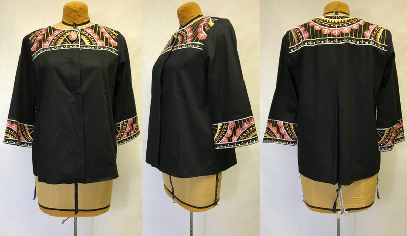 0ed1c9cf82569 Vintage 90s Bob Mackie Embroidered Black Button Up Tunic Shirt