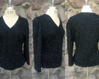 Vintage 90s Brilliante by JA Black Beaded Sparkly Black V-Neck Shirt / Long Sleeved Pullover / Fully Lined / Women's Size Large