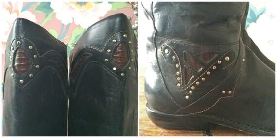 des en Bottines noir cuir vintage ann dwPfIq