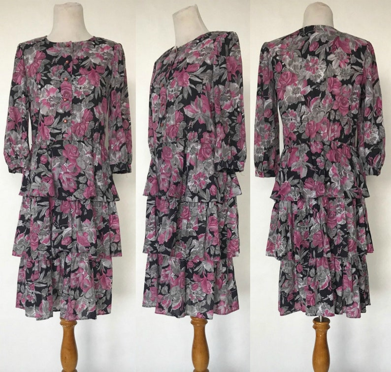 0c70b32a081 Vintage 80s CGJ Purple Floral Print Midi Dress with Tiered | Etsy