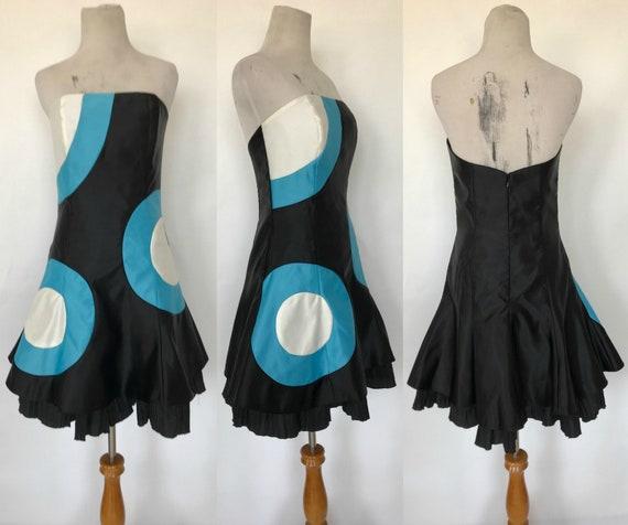 Late 1990/'s Vintage Strapless SundressWhite CottonBorder PrintMade in India