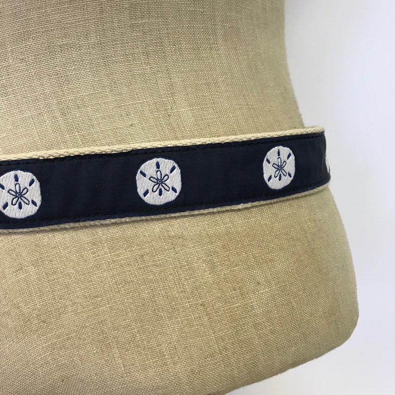 Vintage 80s Leather Man Ltd Woven Fabric /& Leather Sand Dollar Belt  Brass Buckle  Unisex Size 36 Waist  Free US Shipping