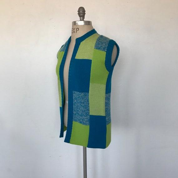 Vintage 70s Coltalia Blue & Green Wool Knit Open … - image 2