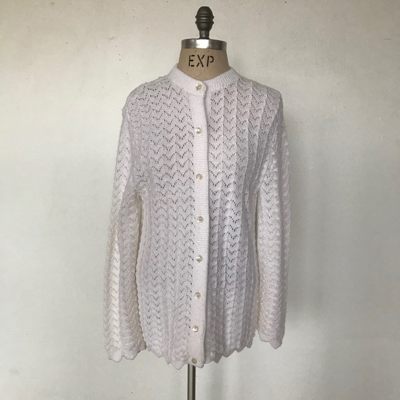 Vintage 70s Parkway Knits White Knit Long Cardigan  Acrylic  Made in the USA  Women/'s Size Medium  Free US Shipping