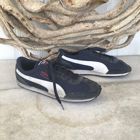 Vintage 90s Puma Lace Up Tie Sneakers   Dark Blue and White    f9931a99c