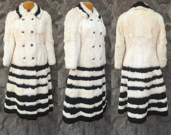 Vintage Graf's Exclusive Furs Exclusive Double Breasted Full Length Coat / Black & White Stripes / Fully Lined / Women's Size Medium
