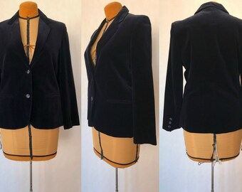"Vintage 70s-80s Sears Roebuck ""The Fashion Place"" Dark Midnight Blue Velvet Blazer / Fully Lined / Women's SIze 12 / Medium to Large"