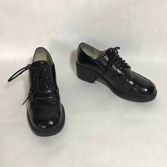 eb904438e14 Vintage 90s Unlisted Black Leather Lace Up Oxford Shoes with
