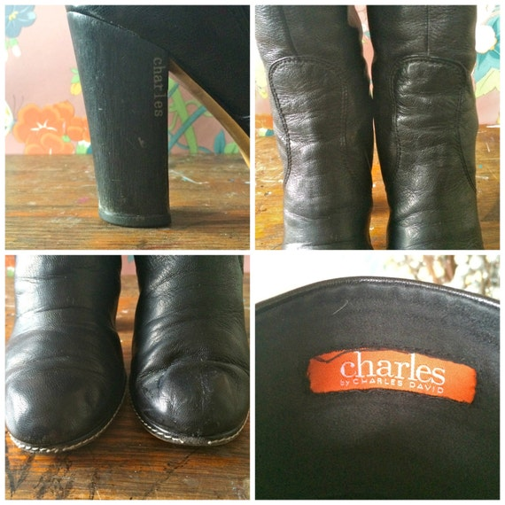 90s Stacked 5 Charles David Vintage Style Boots Leather Heel Charles Charles David Disco Size Black B by SdqTT8U