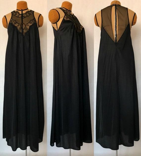 Vintage 70s 80s Jcpenney Long Black Negligee Sheer Peekaboo