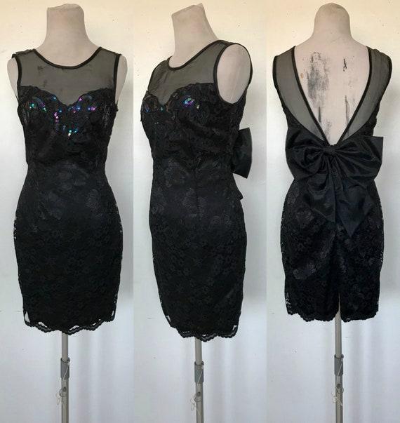 EMANUEL UNGARO black lace dress black beaded dress cocktail dress party dress 90s little black dress LBD designer dress s 2 36 xs s