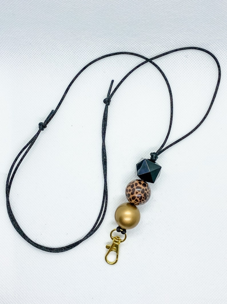 /& Gold Bubblegum Bead Adjustable Lanyard Leopard Black