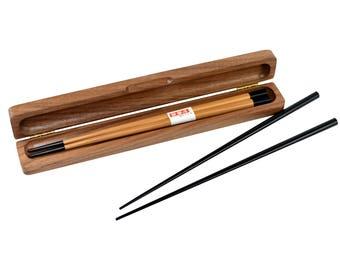 Personalized Chopstick Box and Chopsticks - Personalized Chopstick Box - Chopstick Box - Engraved Wood Chopstick Box - Walnut Chopstick Case