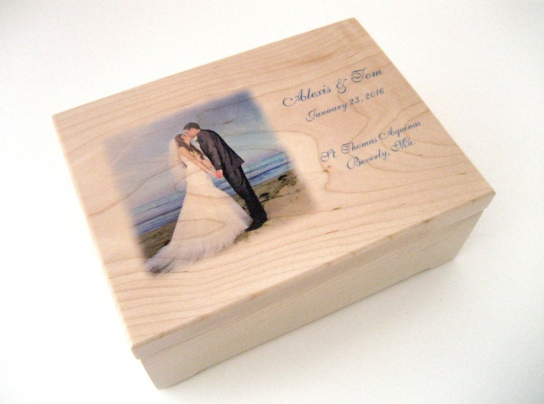 Wooden Box Valet Box Memory Box Wedding Keepsake Box Maple
