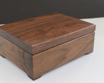 First Communion Keepsake Box - Custom Engraved Wood Box - Walnut Keepsake Box - Personalized Wooden Box -  Engraved Valet Box