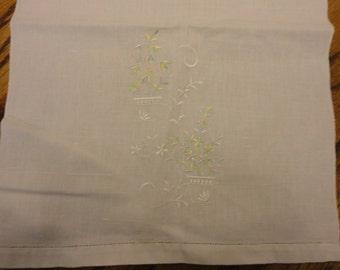 Vintage Tea Towel with Floral Spray