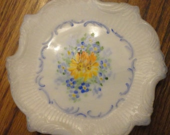 Milk Glass Dresser plates hand painted