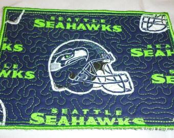 Seattle Seahawk mug rug