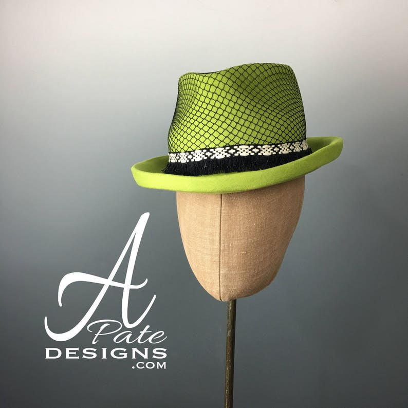 Classic Trilby Fedora Hat Hand blocked in Chartreuse Wool Felt image 0
