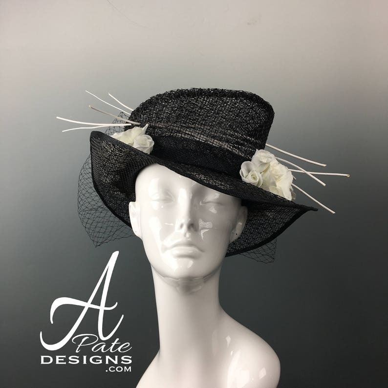 Trinity  OOAK RTS Couture Sinamay & black wire Tophat w white image 0