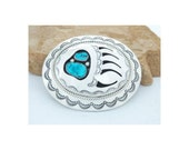 Native American Navajo Bear Paw Belt Buckle Sterling Silver Turquoise Signed
