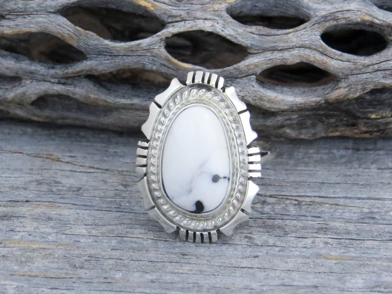 Native American Navajo White Buffalo Turquoise Sterling Silver Ring Signed Size 7 34 White Buffalo Ring