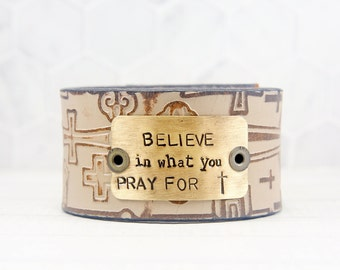Leather Cuff Bracelet, Inspirational Gifts for Her, Inspirational Jewelry for Women